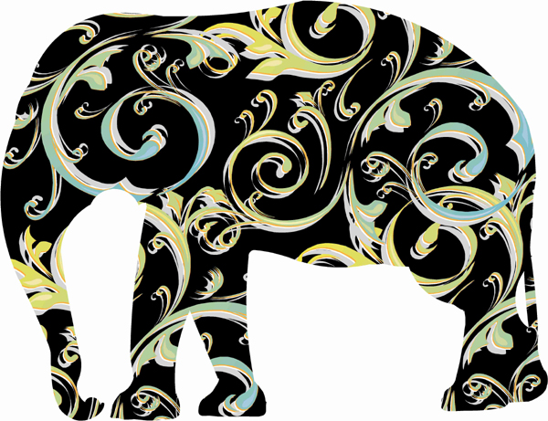 Black Elephant Decals with Swirly patterns
