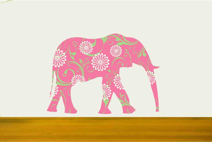Nursery Walls Pink Elephant Vinyl Decal Sticker on Luulla