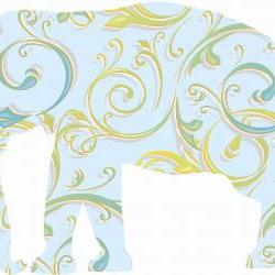 Blue Elephant Decals with Swirly Patterns