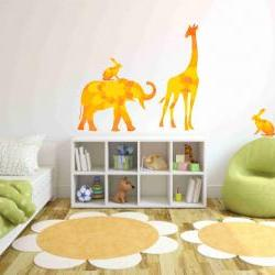 Elephant Giraffe Rabbits Set Fabric Wall Decals