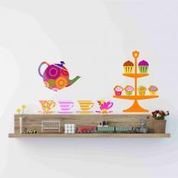 Nursery Decor Teapot Teacups and cupcakes Fabric wall decals